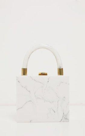 Cream Mini Square Resin Clutch Bag | PrettyLittleThing