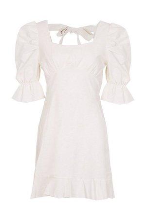 Petite Linen Look Volume Sleeve Mini Dress | boohoo ecru
