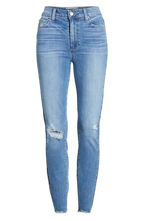 PAIGE Hoxton Ripped High Waist Ankle Skinny Jeans (Dezi Destructed) blue