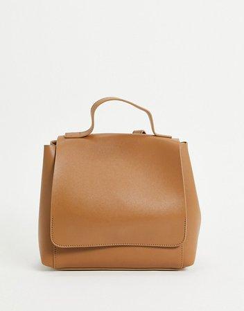 ASOS DESIGN minimal backpack in tan   ASOS