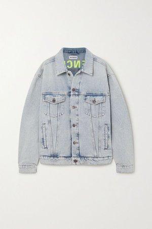 Blue Oversized embroidered denim jacket | Balenciaga | NET-A-PORTER