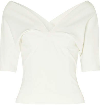 Off-the-shoulder Stretch-cady Top - White