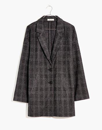 Glen Plaid Knit Oversized Blazer