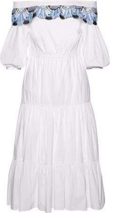 Off-the-shoulder Crochet-trimmed Cotton-blend Dress