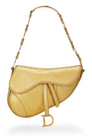 Christian Dior Galliano Vintage Gold Tone GENUINE Ostrich Leather Saddle Bag   eBay