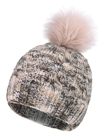 Women's Winter Chunky Knit Pompom Ski Snowboard Beanie Hat Black Hat Black Grey Ball at Amazon Women's Clothing store
