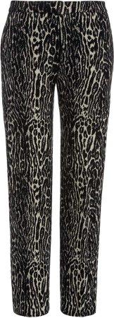 Libertine Leopard Print Wool Straight-Leg Trousers