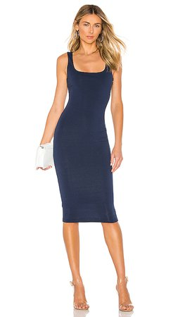 superdown Carlina Square Neck Midi Dress in Navy Blue | REVOLVE