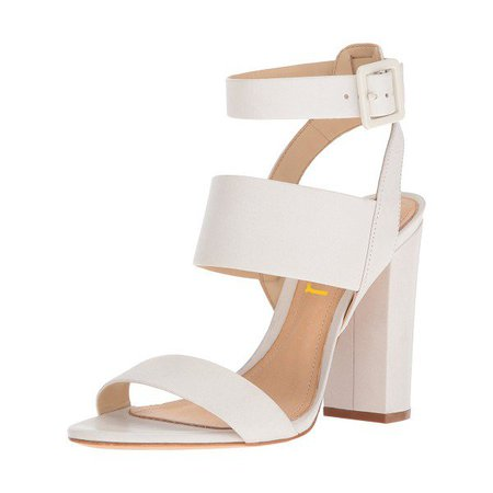 White Ankle Strap Sandals Chunky heels Slingback Sandals for Formal event, Party, Music festival, Ball, Date, Going out, Hanging out | FSJ