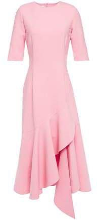 Asymmetric Wool-blend Cady Midi Dress