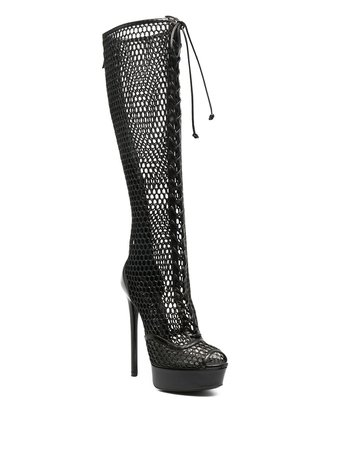 *clipped by @luci-her* black Casadei Blade Webster mesh boots