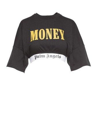 Cropped Logo Trim T-Shirt