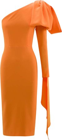 Wade Bow-Accented Crepe Midi Dress
