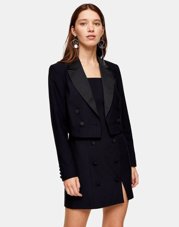 Σακάκι Topshop Black Crop Tuxedo Double Breasted Blazer - Γυναίκα - Σακάκια Topshop στο YOOX - 49543346KF