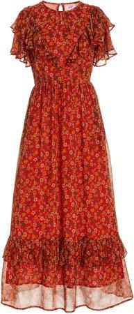 Banjanan Bohemia Printed Crepe De Chine Dress
