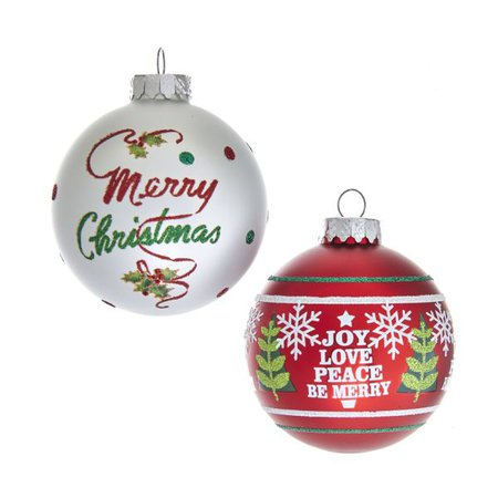 80MM Red and White Christmas Sayings Glass Ball Ornaments, 6-Piece Box Set | KURT S. ADLER