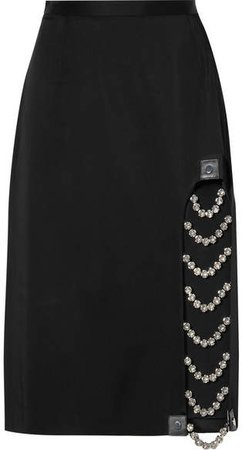 Embellished Leather-trimmed Satin Skirt - Black