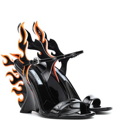 100 Flame leather wedge sandals