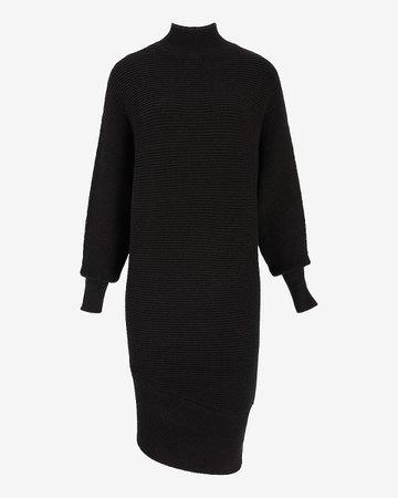 Turtleneck Asymmetrical Hem Midi Sweater Dress | Express