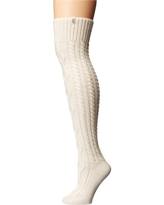 UGG Cable Knit Socks (Cream) Women's Knee High Socks Shoes