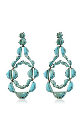 Nakard Vienna Sterling Silver Turquoise Earrings By Nak Armstrong | Moda Operandi