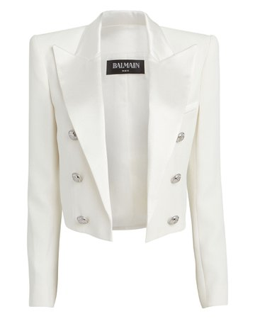 Balmain   Cropped Double Breasted Crepe Blazer   INTERMIX®