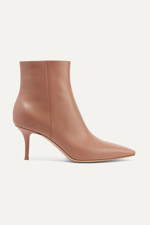 70 Leather Ankle Boots - Taupe