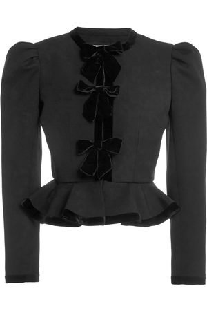 Alessandra Rich Light Wool Jacket With Velvet Bows