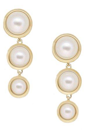 Ettika Triple Imitation Pearl Drop Earrings | Nordstrom