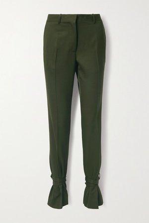 Bow-embellished Wool Straight-leg Pants - Dark green