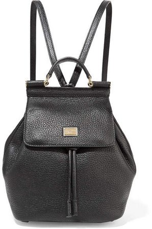 Sicily Small Textured-leather Backpack - Black