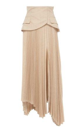 Pleated Peplum Wool Skirt by A.W.A.K.E. | Moda Operandi