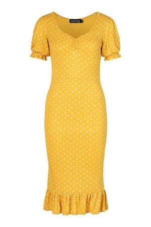 Polka Dot Ruched Frill Hem Midi Dress | boohoo