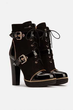 Front Lace Up Chunky Heel Booties