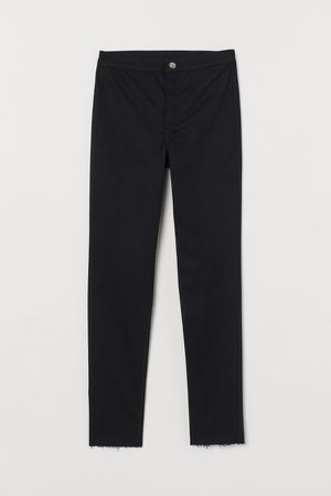 High Waist Twill Pants - Black