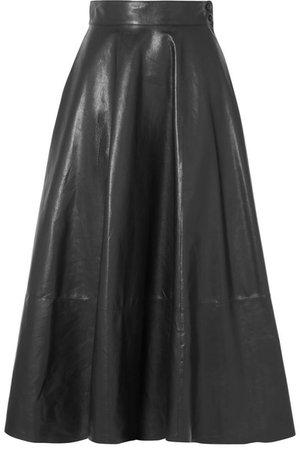 Loewe | Pleated leather midi skirt | NET-A-PORTER.COM