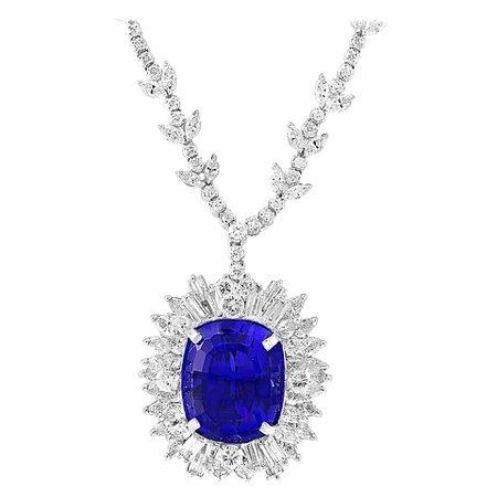 43 Carat Cushion-Cut Tanzanite Pendant Necklace with 18 Carat Diamonds, Estate For Sale at 1stDibs