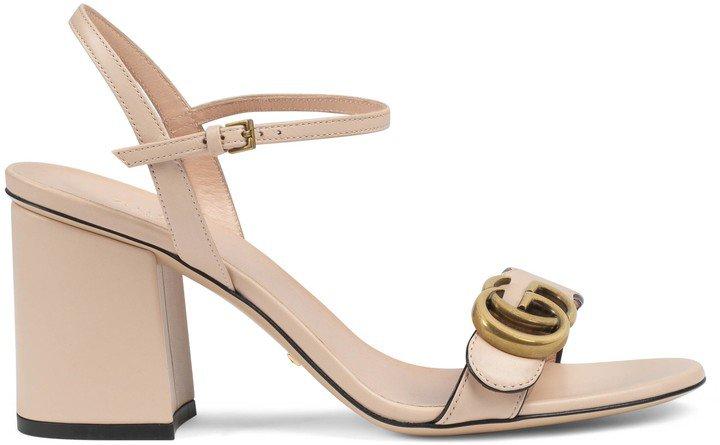 Women's mid-heel sandal with Double G