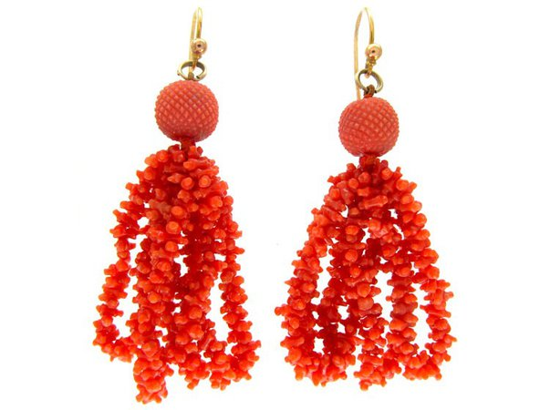 Georgian Carved Coral Earrings - The Antique Jewellery Company