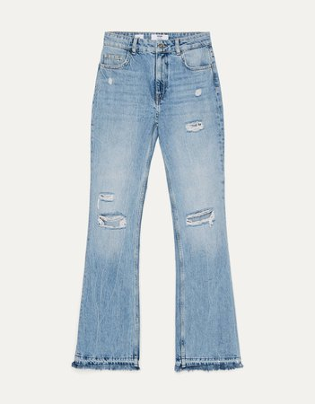 Flared jeans with rips - New - Bershka United States