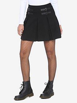 Black Double Buckle Pleated Skirt