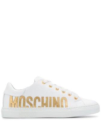 Moschino logo print sneakers - White   £369.00   Grazia