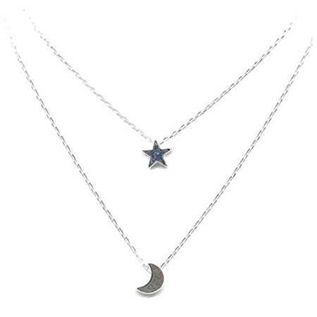 TOOGOO Double layer star Moon lady Necklace of silver: Amazon.co.uk: Jewellery