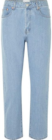 CASASOLA - Mid-rise Cropped Straight-leg Jeans - Light blue