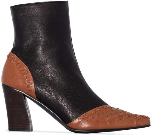 woven detail ankle boots
