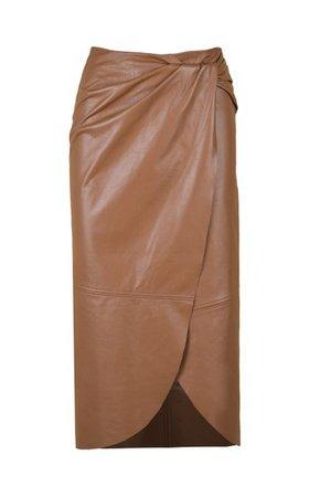 Kafka On The Shore Leather Midi Skirt By Johanna Ortiz   Moda Operandi