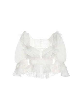 White long sleeve puffy blouse