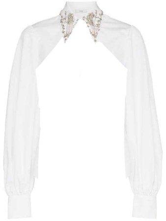 erdem eula crystal embellished cotton shirt