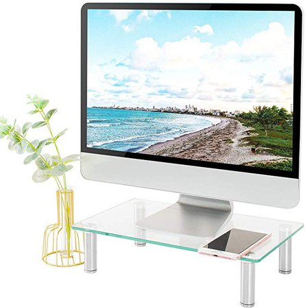 Amazon.com : 5Rcom Computer Monitor Stand Clear Tempered Glass Laptop Riser, Multi Desktop Stand with Height Adjustable Legs for Flat Screen LCD LED TV, Laptop/Notebook : Office Products