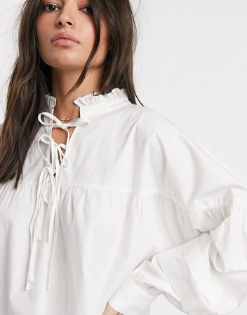 Vila smock top with tie detail in white | ASOS